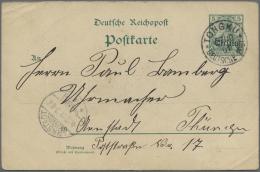 """Russische Post In China - Ganzsachen: 1901. Postkarte 5 Pf Grün Germania Mit Nach Oben Verschobenen Aufdruck """"China"""