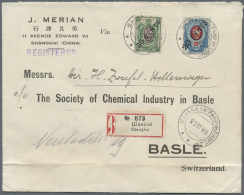 """Russische Post In China: 1920, 20 C./20 K. And 25 C./25 K. Tied """"XANGHAI 23 11 20"""" To Registered Cover To Switzerland, C"""