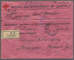 """Russische Post In China: 1917, 14 C. On 14 K. Blue And Red, Horizontal Pair Tied By Cds. """"TIANJIN 5.4.17"""" To Reverse To"""