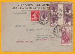 1927 - Enveloppe Nice Vers Finalpia, Italie  - Affranchissement  Bloc De 4 Orphelins 2 C + YT 230   - Cad Arrivée - Francia