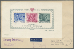 """Polen: 1948, 160th Anniversary Of U.S. Constitution, Souvenir Sheet (no. 00358) On Registered Airmail F.d.c. From """"WARSZ"""