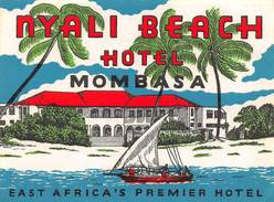 """D5879 """"NYALI BEACH HOTEL - MOMBASA  - EAST AFRICA'S PREMIER HOTEL"""" ETICHETTA ORIGINALE - ORIGINAL LABEL - Adesivi Di Alberghi"""