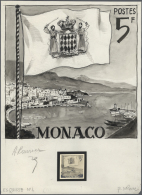 """Monaco: 1950s. Artwork And Essay Photo For An Unissued Stamp Design Showing """"Monaco Harbour And Flag"""". Gouache On Art Pa"""