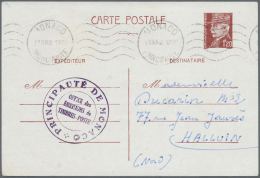 """Monaco: 1942, France 1,20 F Petain Psc, Used As Preprinted Announcement-card From """"Office Des Emissions De Timbre-Poste"""