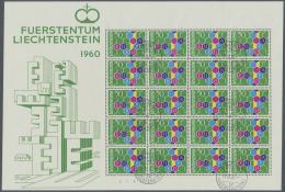 Liechtenstein: 1960, 50 Rp. Europa, 1. Auflage Im Kompletten Originalbogen Zu 20 Werten, Gestempelt In Ausgesuchter Luxu