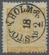 """Schweden: 1855, Reichswappen ÅTTA(=8) Skill Bco. Mit Perfektem Abschlag """"STOCKHOLM   18 2 58"""", Gut Gezähnt, S"""
