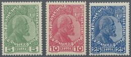 Liechtenstein: 1912, Freimarken 5 H. Dunkelgrün, 10 H. Dunkelrosarot Und 25 H. Dunkelkobalt, Gewöhnliches Papi