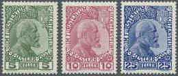 Liechtenstein: Freimarken 1912, Gestrichenes Papier Komplett, Postfrischer Qualitätssatz