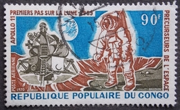 CONGO PA Y&T 104 (o) APOLLO 11 PREMIER PAS SUR LA LUNE 90F /  1970 RECTO VERSO - Congo - Brazzaville