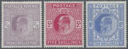 Großbritannien: 1902/1912, KEVII 2s.6d. Purple, 5s. Carmine And 10s. Ultramarine, Three Unused Copies, Mint O.g.