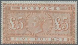 "Großbritannien: 1882, QV 5 £ Orange On Blued (revenue) Paper, Letters ""D-E"" In UNUSED/MINT With Gum On Rever"