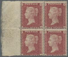 Großbritannien: 1857, A Block Of Four QV 1 D. Deep Rose-red On White Paper, Die II, Alphabet III, Watermark Large