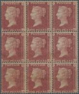 Großbritannien: 1857, A Mint Block Of Nine Of QV 1 D. Rose-red On White Paper, Die II, Alphabet III, Watermark Lar
