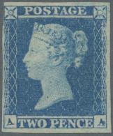 Großbritannien: 1841, QV 2 D. Blue, Plate 4, Letters A-A, Large Margins On Three Sides, Close But Clear On Upper L