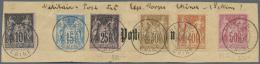 """Französische Post In China: 1902, 10 - 50 C. Allegorie Auf Briefstück, Verwendet """"PEKIN 12 JUIN 02"""" Für D"""