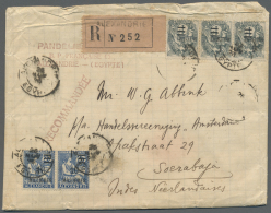 Französische Post In Ägypten - Alexandria: 1925, 10 Mill. On 25 C. Blue, Horizontal Pair And Horizontal Strip