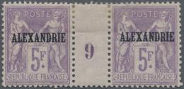 """Französische Post In Ägypten - Alexandria: 1899. Paire Millésime """"9"""" Sage 5fr Lilas. Forte Charni&egrav"""