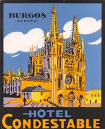 "D5885 ""HOTEL CONDESTABLE  - BURGOS - SPAGNA"" ETICHETTA ORIGINALE - ORIGINAL LABEL - Adesivi Di Alberghi"
