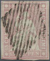 Schweiz: 15 Rp. Erster Berner Druck Auf Seidenpapier (SBK 24 F), Allseitig Weissrandiger Schnitt!, Fotoattest Hermann SB