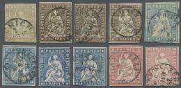 Schweiz: 1854-62 STRUBEL: Gruppe Von 10 Gestempelten Marken, Dabei 2 Rp. Grau (Schnittfehler), 3mal 5 Rp. (einmal Vollra