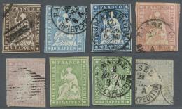 Schweiz: 1854-62 Strubel-Lot Mit 6 Gestempelten Und Einer Ungebrauchten Marke, Dabei U.a. 15 Rp. Auf Dünnem Papier,