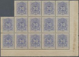 Belgien - Portomarken: 1870, 20 Cent. Never Hinged Margin Block Of Fourteen From The Lower Right Hand Corner. The Gum Is
