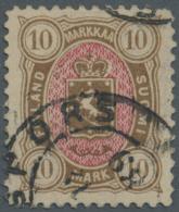 Finnland: 1885, 10 M. Gestempelt, Saubere Bedarfszähnung, Gesuchter Wert, Mi: 650,-