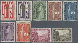 Belgien: 1928, Wiederaufbau Abtei Orval, Postfrischer Prachtsatz Von 9 Werten Mit Attest Diena