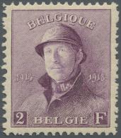 Belgien: 1919/1920, Freimarken: König Albert I. Mit Helm, Die Gute 2 Fr. Absolut Perfekt Zentriert (C.O.B. Für