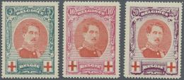 Belgien: 1915, Rotes Kreuz (III), 1a Zentrierte Serie (C.O.B. € 360,-).