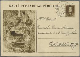Albanien - Ganzsachen: 1942, 10 Q Brown Postal Stationery Picture Replay Card (NGA Vjetersinat) From Tirane To Posta Mil - Albania