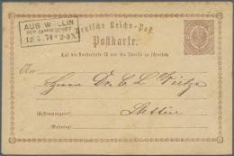 """Schiffspost Deutschland: 1872, """"AUS WOLLIN PER DAMPFSCHIFF 12.5.74"""", Ra3 Klar Auf Deutsches Reich 1/2 Gr. Ganzsachenkart"""