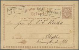 """Schiffspost Deutschland: 1872, """"Aus....PER DAMPFSCHIFF 7.9.(74)"""", Ra3 Klar Auf Deutsches Reich 1/2 Gr. Ganzsachenkarte M"""