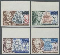 Wallis- Und Futuna-Inseln: 1973, Navigators, Complete Set, Imperforate With Upper Margin, Unmounted Mint.