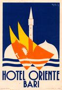 "D5891 ""HOTEL ORIENTE - BARI - ITALIA""  ETICHETTA ORIGINALE - ORIGINAL LABEL - Adesivi Di Alberghi"