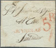 Puerto Rico: 1837 (25.8.), Full Entire Transatlantic-letter Written In Puerto Rico Sent To Santander, Spain With Red 1-l - Puerto Rico