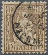 Schweiz: 1 Fr. Goldbronze, Unterdruck Rötlich (SBK 36 A), Attest SBPV