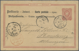 """Benin: 1890, """"GRAND POPO BENIN 10.MAI.90"""", Clear On German Repley Card 10 Pfg. With Text Via Lagos And With French Ship"""