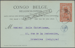 """Belgisch-Kongo: 1922, 15 C On 10 C And 30 C On 10 C Two Ps Use Up Replay Cards Cancelled With Cs """"BOMA"""" To Brussels"""
