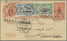 Belgisch-Kongo: 1911, Registered Stationery Card With Additonal Franking Of 5 And 25 C Sent From BOMA To Vienna Without
