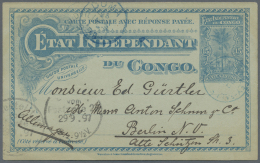 """Belgisch-Kongo: 1897, 15 C Blue Postal Stationery Card With Blue Circle Stamp """"Stanley-Falls"""" To Berlin, Rare Regional P"""