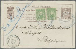 Belgisch-Kongo: 1891, ´5 Centimes Stat. Card With Additional Franking Of A Horizontal Pair 5 C. Leopold II Sent Fr