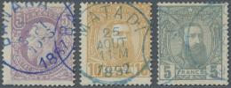Belgisch-Kongo: 1886/1892, 5 Fr Violett, 10 Fr. Braunorange Und 5 Fr. Grau Als Gestempelte Werte.  Michel 850,- €