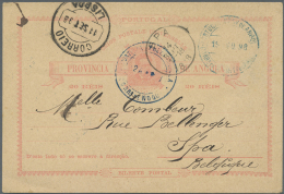 "Angola: 1898, 20 R. Rose On Cream Postal Stationery Card Tied By Blue ""PORTUGUESE PROV DE ANGOLA 24/7/98"" Cds., Addresse"