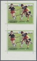Thematik: Sport-Hockey / Sport -hockey: 1989, Nicaragua. Very Scarce Vertical Pair Of The Barcelona '92 Olympic Souvenir