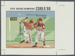 Thematik: Sport-Baseball / Sport-baseball: 1988, Nicaragua. Scarce Imperforate Souvenir Sheet Of The Olympic Set Showing