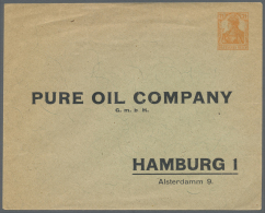 "Thematik: Öl / Oil: 1917 (ca), Dt. Reich. Privat-Umschlag 7½ Pf Germania ""Pure Oil Company, Hamburg"". Etwas"