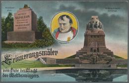 """Thematik: Napoleon: 1913, Dt. Reich. Privat-Postkarte 5 Pf Germania """"Erinnerungsmäler Vom Ende Der Macht Des Weltbe"""