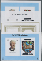 Thematik: Astrologie / Astrology: 1971, Ajman. Renowned Personalities And Their Zodiac Signs. Imperforate Progressive Pr