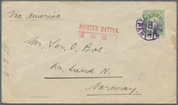 "Japan: 1923, Earthquake 4 S. Tied ""KOBE2 8.7.24"" To Printed Matter Envelope To Kristianslund/Norway."